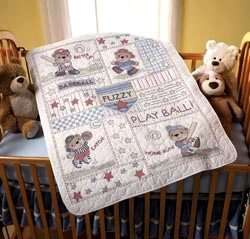 45386 Baseball Buddies Crib Cover