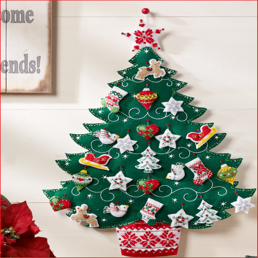 Nordic tree advent calendar 86584 bucilla colombia - Arbol navidad fieltro pared ...